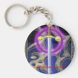 celtic sword basic round button keychain