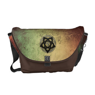 Celtic Symbols in Black and Gold on Faux Leather Messenger Bag