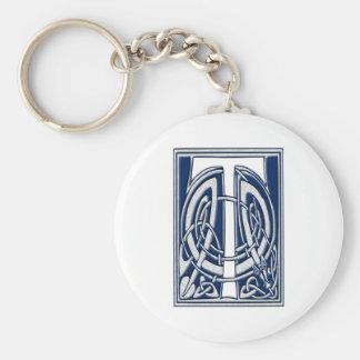 Celtic T Monogram Basic Round Button Keychain