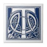 Celtic T Monogram Small Square Tile