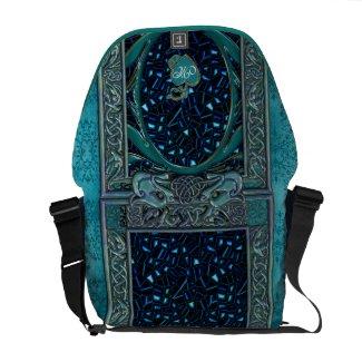 Celtic Teal Damask Monogrammed Messenger Bag