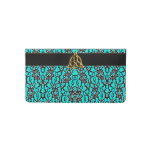 Celtic Teal With Black Lace Checkbook Cover