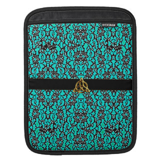 Celtic Teal With Black Lace iPad Sleeve