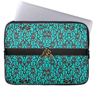 Celtic Teal With Black Lace Laptop Computer Sleeve