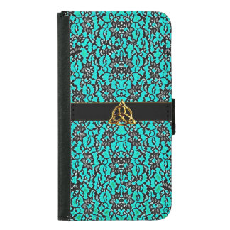 Celtic Teal With Black Lace Wallet Phone Case For Samsung Galaxy S5