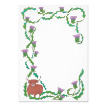 celtic thistle highland cow letter border frame invitation