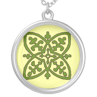 Celtic Tile Green Silver Plated Necklace