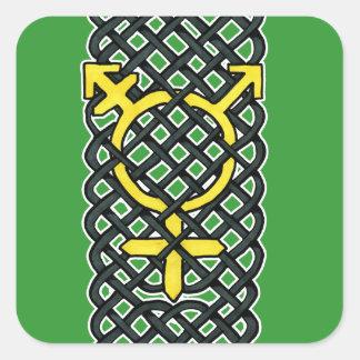Celtic Transgender Symbol Yellow Square Sticker