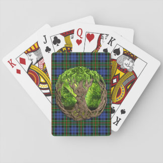 Celtic Tree Of Life And Clan Colquhoun Tartan Playing Cards
