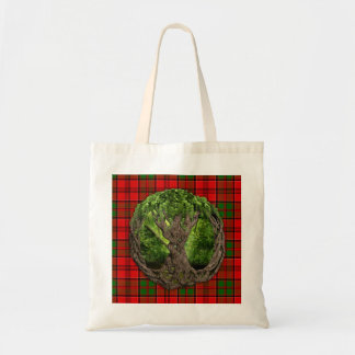 Celtic Tree Of Life And Clan Grant Tartan Tote Bag