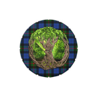 Celtic Tree Of Life And Clan Gunn Tartan Candy Tin