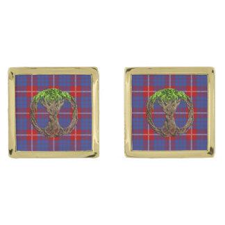 Celtic Tree Of Life And Clan Hamilton Tartan Gold Cufflinks