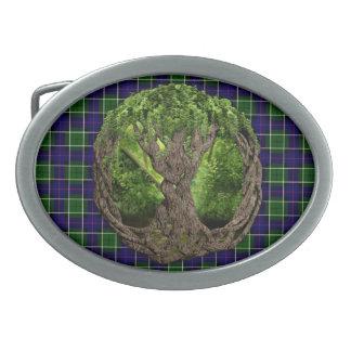 Celtic Tree Of Life And Clan Leslie Tartan Oval Belt Buckle