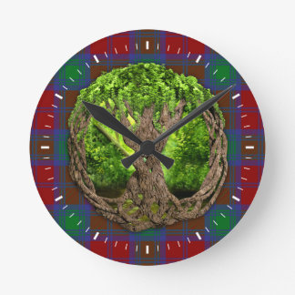Celtic Tree Of Life And Clan Lindsay Tartan Round Clock