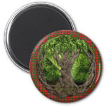 Celtic Tree Of Life And Clan MacAlister Tartan 2 Inch Round Magnet
