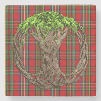 Celtic Tree Of Life And Clan Stewart Tartan Stone Coaster