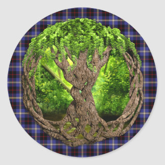 Celtic Tree Of Life Clan Hill Tartan Round Sticker