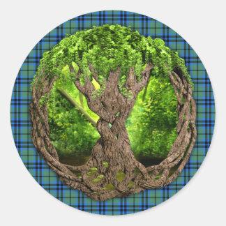 Celtic Tree Of Life Clan Keith Tartan Round Sticker