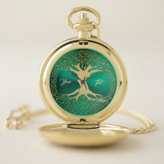 Celtic Tree of Life Green and Gold Pocket Watch