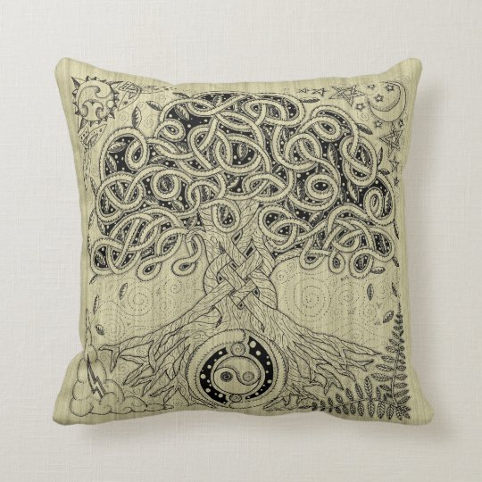 Celtic Tree of Life Ink Pillow