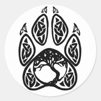 Celtic Tree of Life Paw Classic Round Sticker