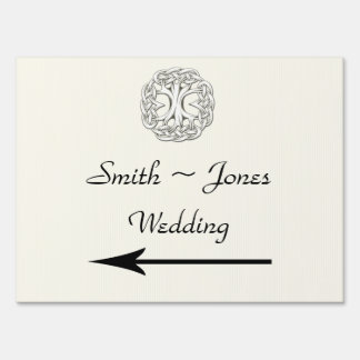Celtic Tree of Life Wedding Direction Sign