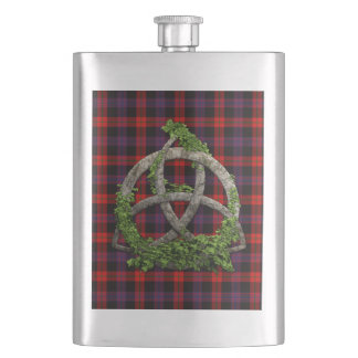 Celtic Trinity Knot And Clan Brown Tartan Flask
