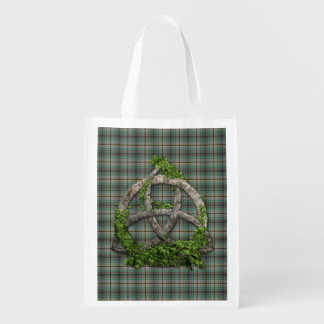 Celtic Trinity Knot And Clan Craig Tartan Reusable Grocery Bag