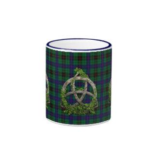 Celtic Trinity Knot And Clan Davidson Tartan Ringer Mug