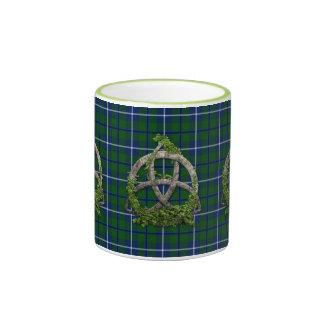Celtic Trinity Knot And Clan Douglas Tartan Ringer Mug