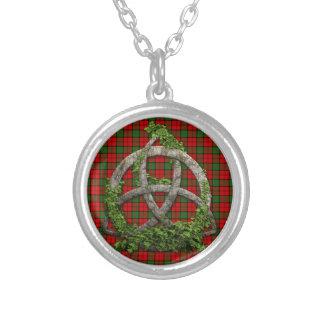 Celtic Trinity Knot And Clan Dunbar Tartan Round Pendant Necklace