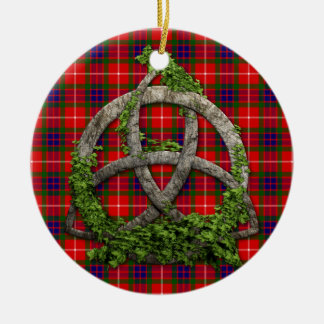 Celtic Trinity Knot And Clan Fraser Tartan Ceramic Ornament