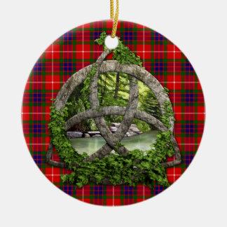 Celtic Trinity Knot And Clan Fraser Tartan Ceramic Ornament