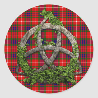 Celtic Trinity Knot And Clan Fraser Tartan Classic Round Sticker