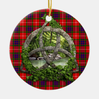 Celtic Trinity Knot And Clan Fraser Tartan Double-Sided Ceramic Round Christmas Ornament