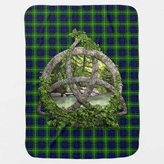 Celtic Trinity Knot And Clan Gordon Tartan Stroller Blanket