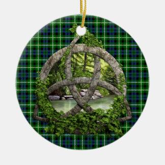 Celtic Trinity Knot And Clan Graham Tartan Ceramic Ornament