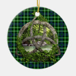 Celtic Trinity Knot And Clan Graham Tartan Double-Sided Ceramic Round Christmas Ornament