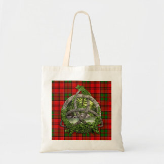 Celtic Trinity Knot And Clan Grant Tartan Tote Bag