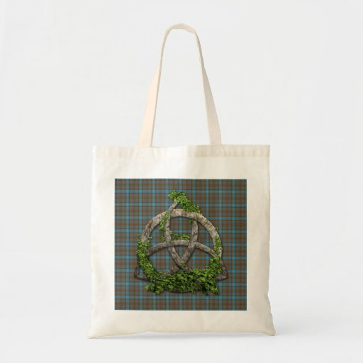 Celtic Trinity Knot And Clan Hannah Tartan Tote Bags