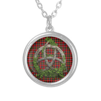 Celtic Trinity Knot And Clan Innes Tartan Round Pendant Necklace