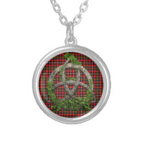 Celtic Trinity Knot And Clan Innes Tartan Silver Plated Necklace