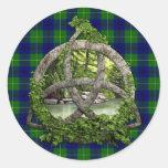 Celtic Trinity Knot And Clan Johnston Tartan Classic Round Sticker