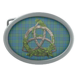 Celtic Trinity Knot And Clan Lockhart Tartan Oval Belt Buckle