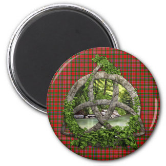 Celtic Trinity Knot And Clan MacAlister Tartan 2 Inch Round Magnet