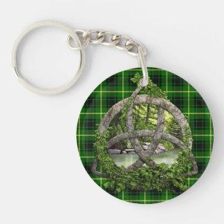 Celtic Trinity Knot And Clan MacArthur Tartan Keychain