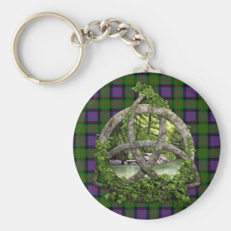 Celtic Trinity Knot And Clan MacDonald Tartan Basic Round Button Keychain