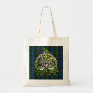 Celtic Trinity Knot And Clan MacKinlay Tartan Tote Bags
