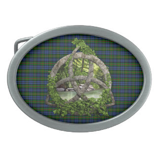 Celtic Trinity Knot And Clan MacKinlay Tartan Oval Belt Buckle