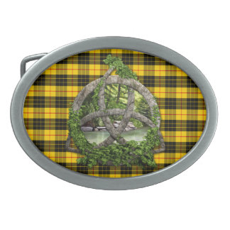 Celtic Trinity Knot And Clan MacLeod Tartan Belt Buckle